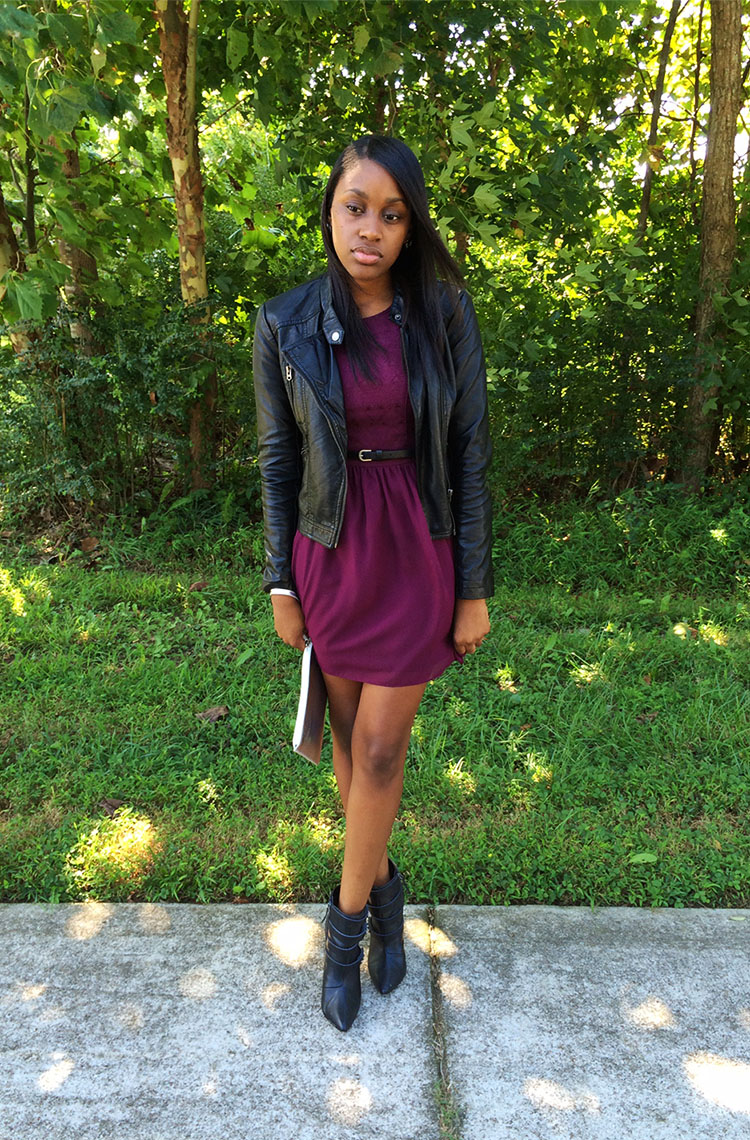 F21 Faux Leather Jacket & Purple H&M Dress