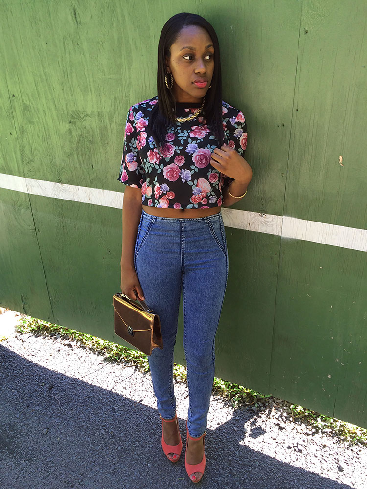 HM-Floral-Top-and-High-Waisted-Jeans