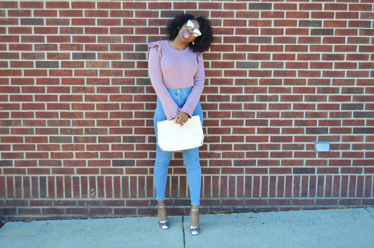 Ruffle Bell Sleeve Sweater + High Waisted Jeans