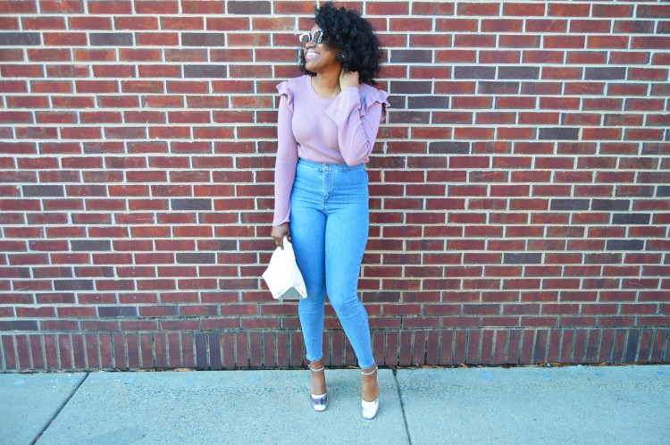 Ruffled-Bell-Sleeved-Sweater-And-High-Waisted-Jeans-6