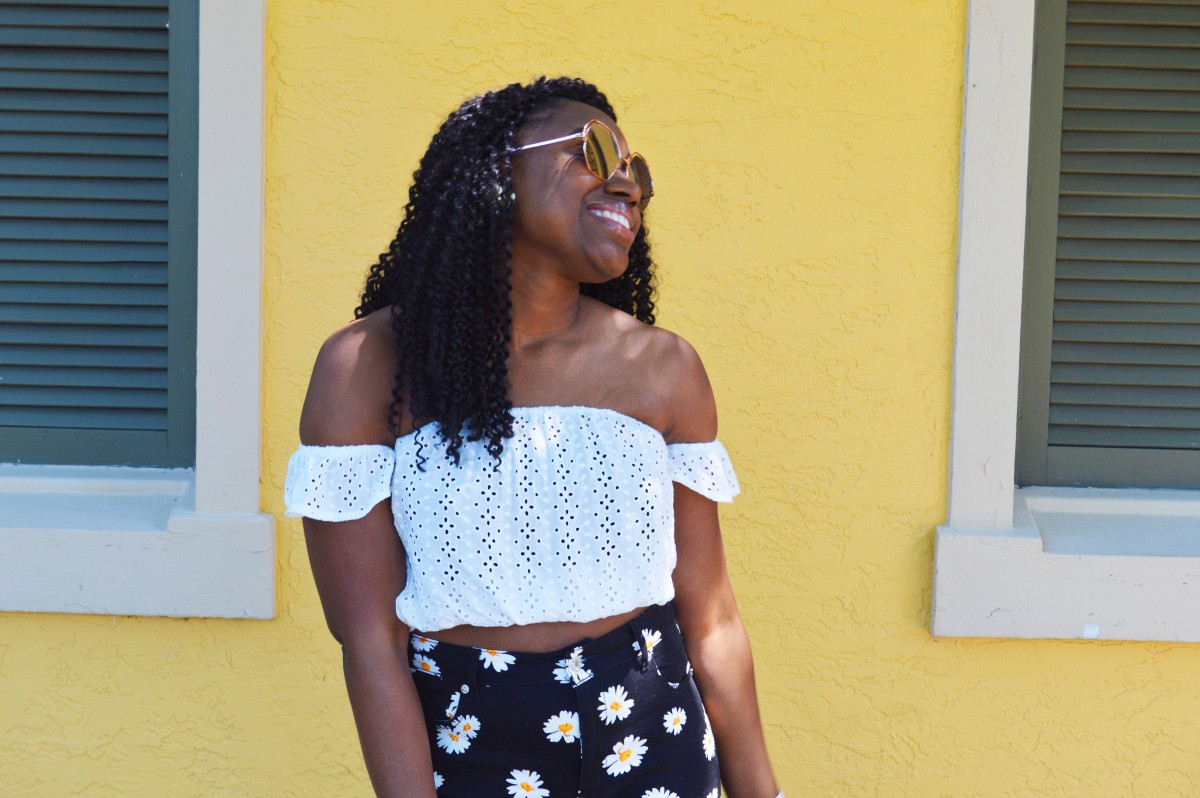 Eyelet Crop Top + Daisy Print Jeans