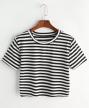 Romwe-Contrast-Striped-Tee